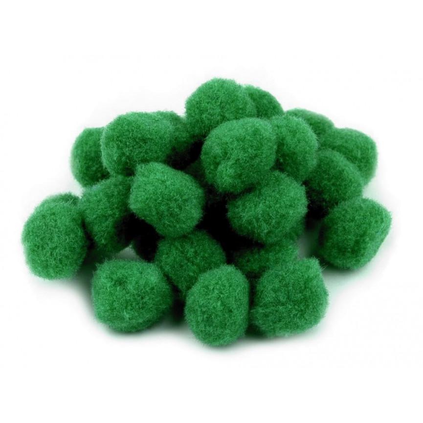 Pompony 15mm – zielone, 25szt