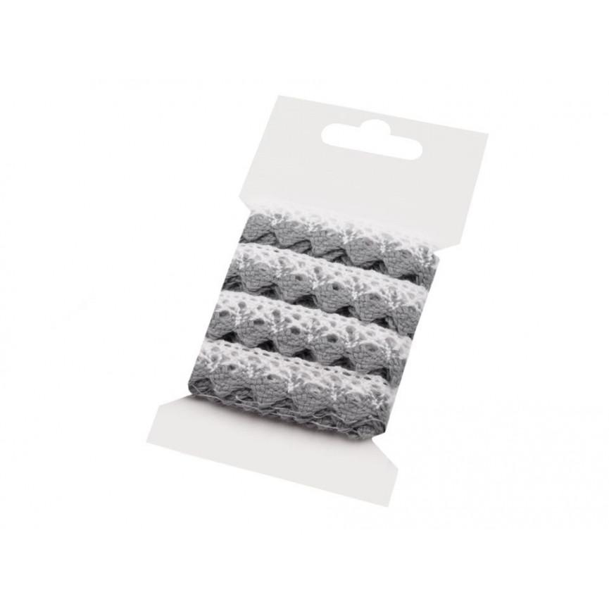 Koronka bawełniana BIAŁO-SZARA 15mm – karta 3mb