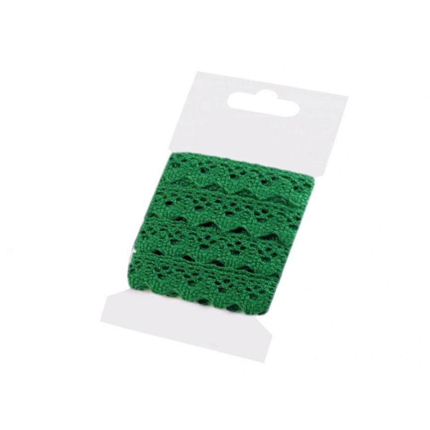 Koronka bawełniana CIEMNO ZIELONA 15mm – karta 3mb