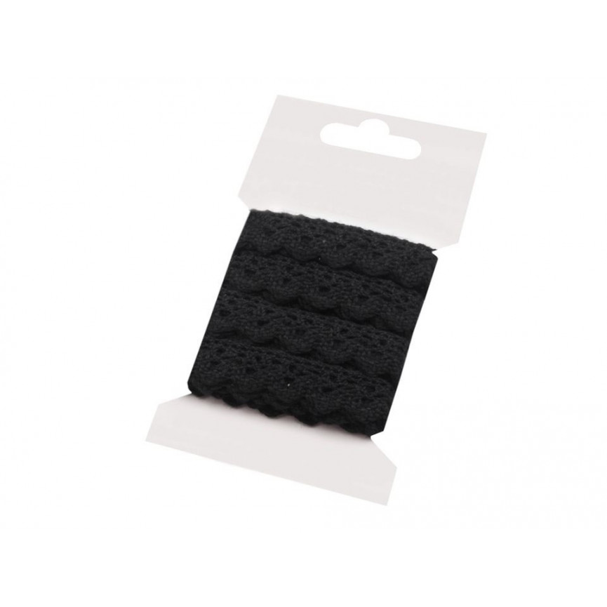 Koronka bawełniana CZARNA 15mm – karta 3mb