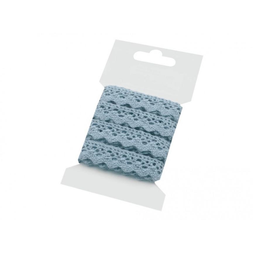 Koronka bawełniana BŁĘKITNA 15mm – karta 3mb