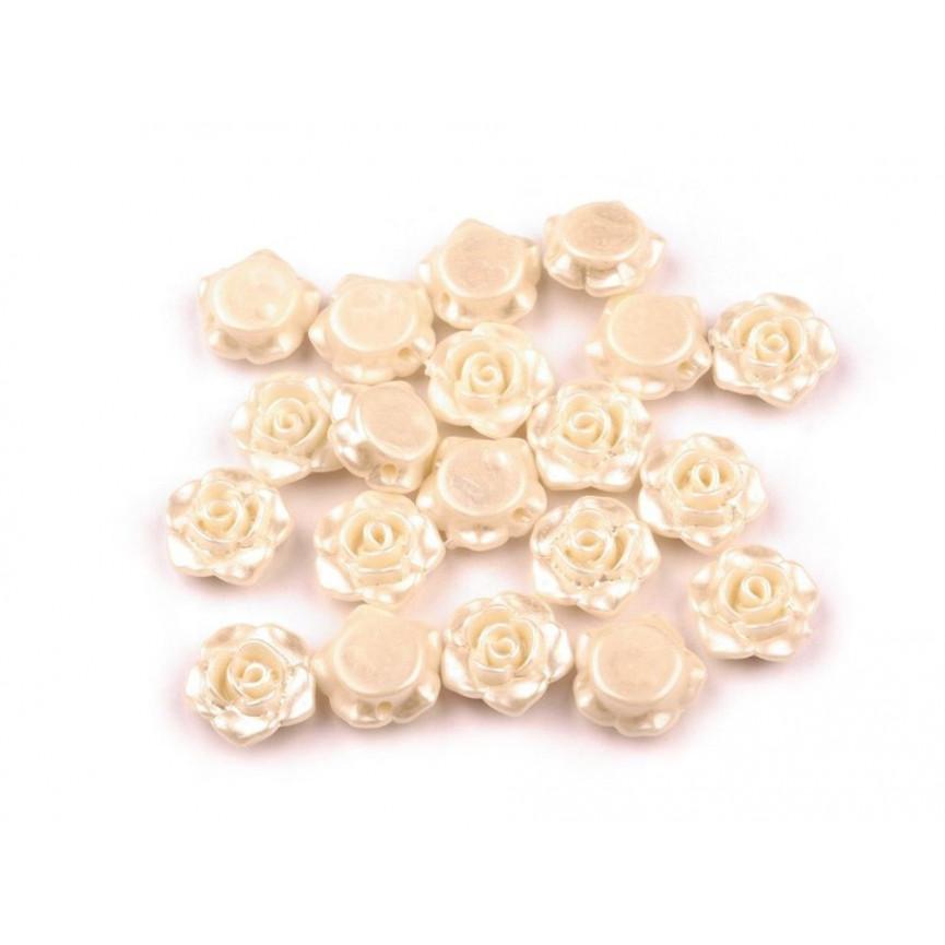 Kremowe - Różyczki koraliki – 13mm
