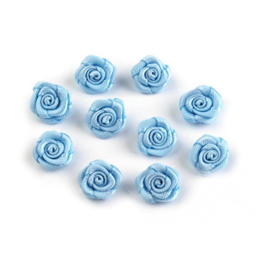 Różyczki 10mm satynowe - BŁĘKITNE