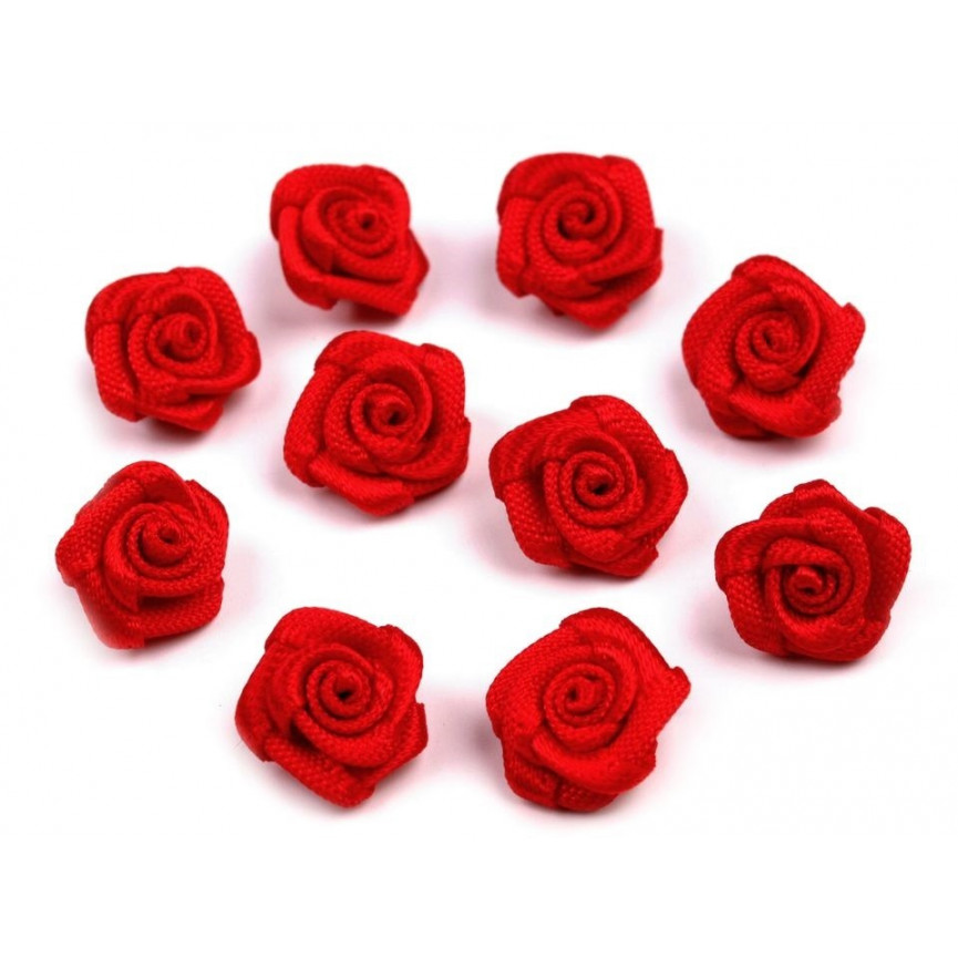 Różyczki 10mm satynowe - CZERWONE