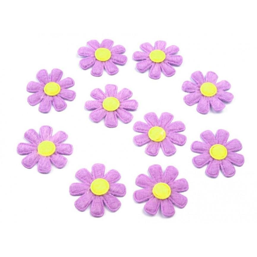 FIOLETOWE Kwiatki z materiału, 27mm - 20szt.
