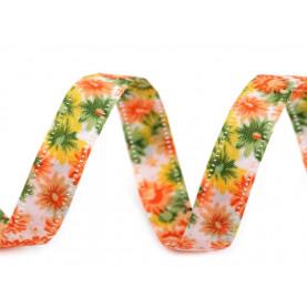 Wstążka w kwiaty, dwustronna, 13mm - żółta
