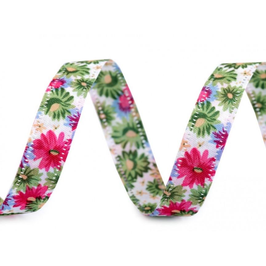 Wstążka w kwiaty, dwustronna, 13mm - zielona