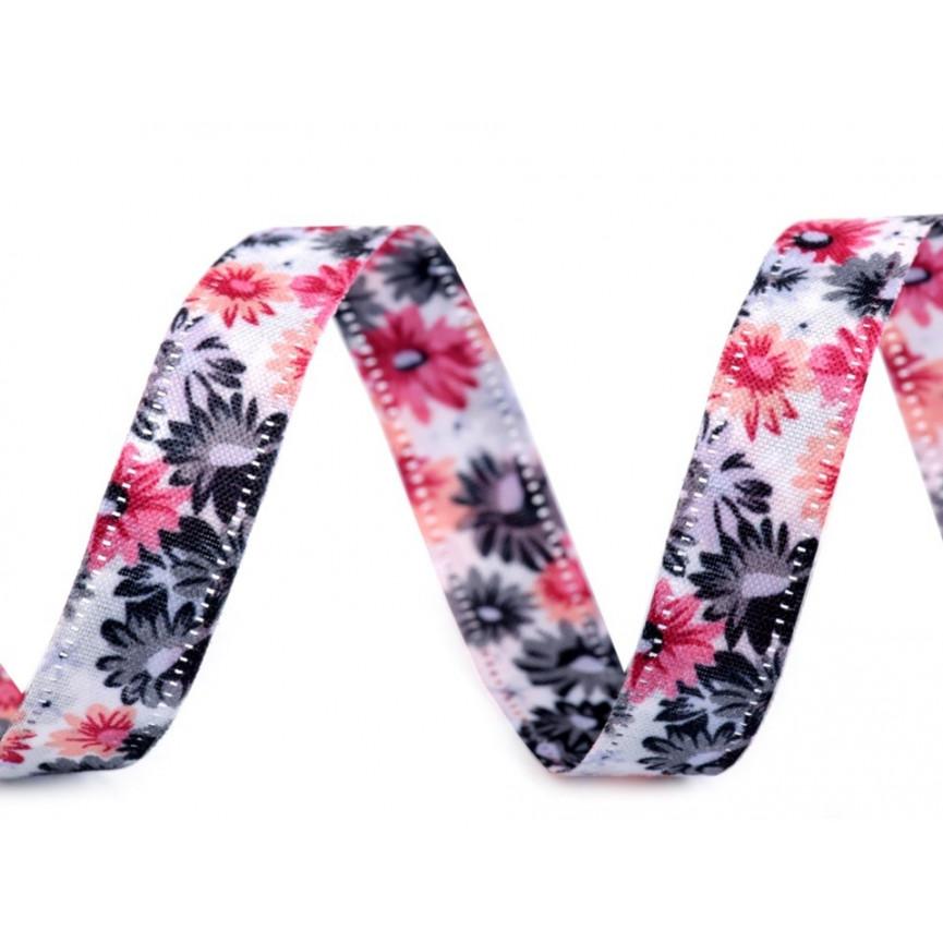 Wstążka w kwiaty, dwustronna, 13mm - fioletowa