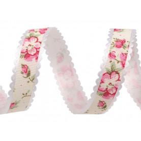 Wstążka z koronkowym brzegiem, kwiaty - 15mm - Krem