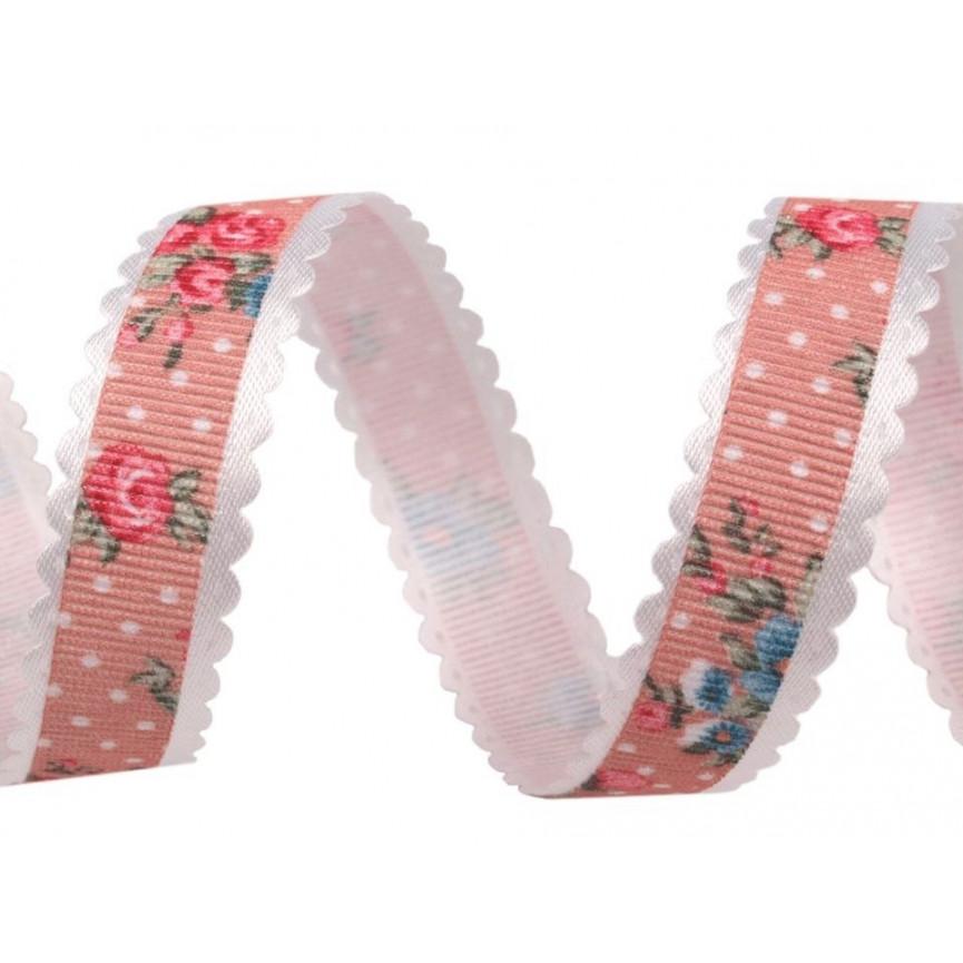 Wstążka z koronkowym brzegiem, kwiaty - 15mm - Róż