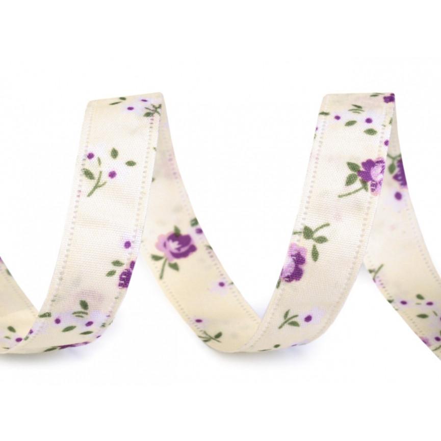 Wstążka dwustronna w drobne kwiaty, 13mm - ECRU
