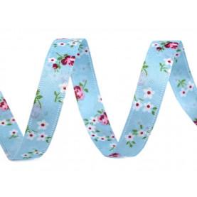 Wstążka dwustronna w drobne kwiaty, 13mm - NIEBIESKA