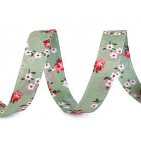 Wstążka dwustronna w drobne kwiaty, 13mm - ZIELONA