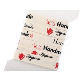 """Wstążka bawełniana z napisami """"Hand Made"""" - 3mb"""