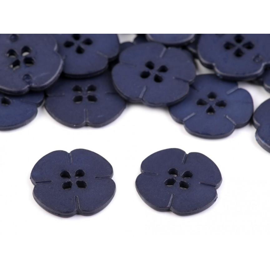 GRANATOWE Guziki Kwiatki 20mm - 10szt