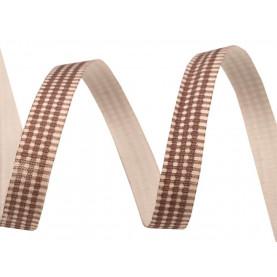 BRĄZOWA Wstążka bawełniana w kratkę 8mm - 1mb
