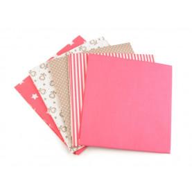 Bawełna wzorzysta - zestaw różowobeżowy