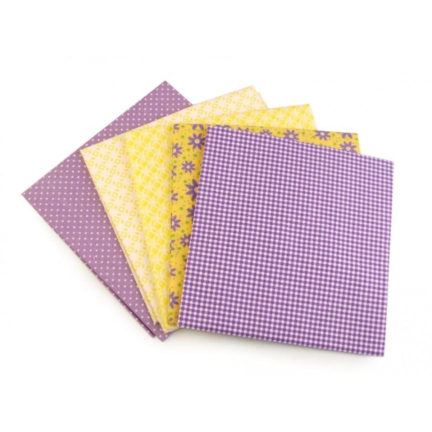 Bawełna wzorzysta - zestaw fioletowy