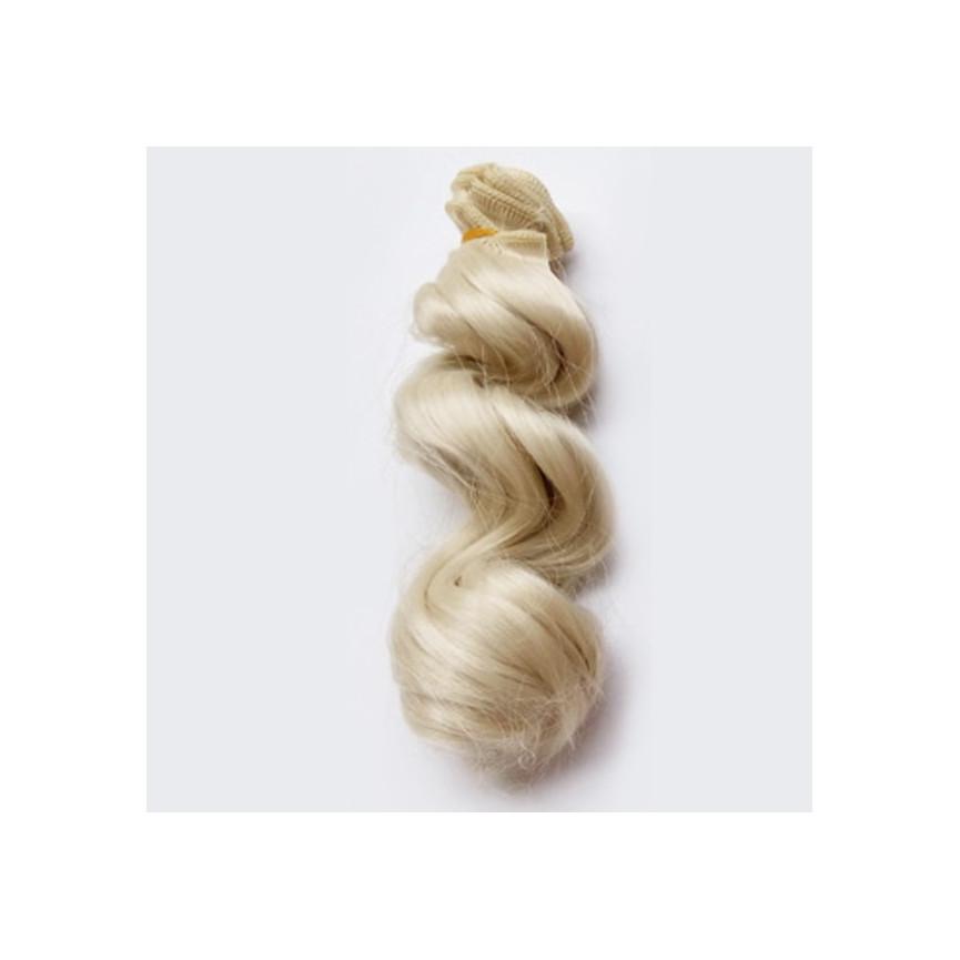 BLOND Srebrny - Falowane 15cm - Włosy Do Lalek