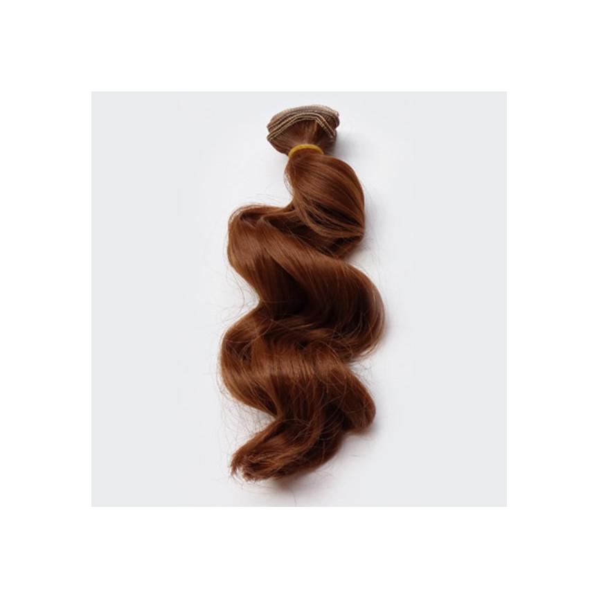 BRĄZ Kasztanowy (12) - Falowane 15cm - Włosy Do Lalek