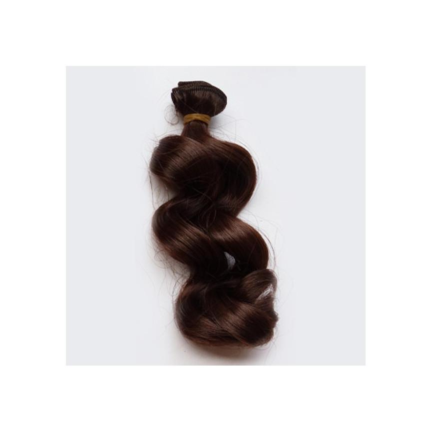 CIEMNY BRĄZ Falowane 15cm Włosy Do Lalek