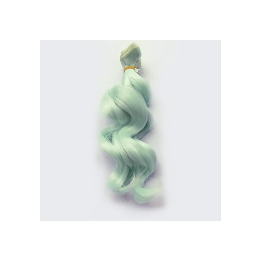 BŁĘKITNY - Falowane 15cm - Włosy Do Lalek