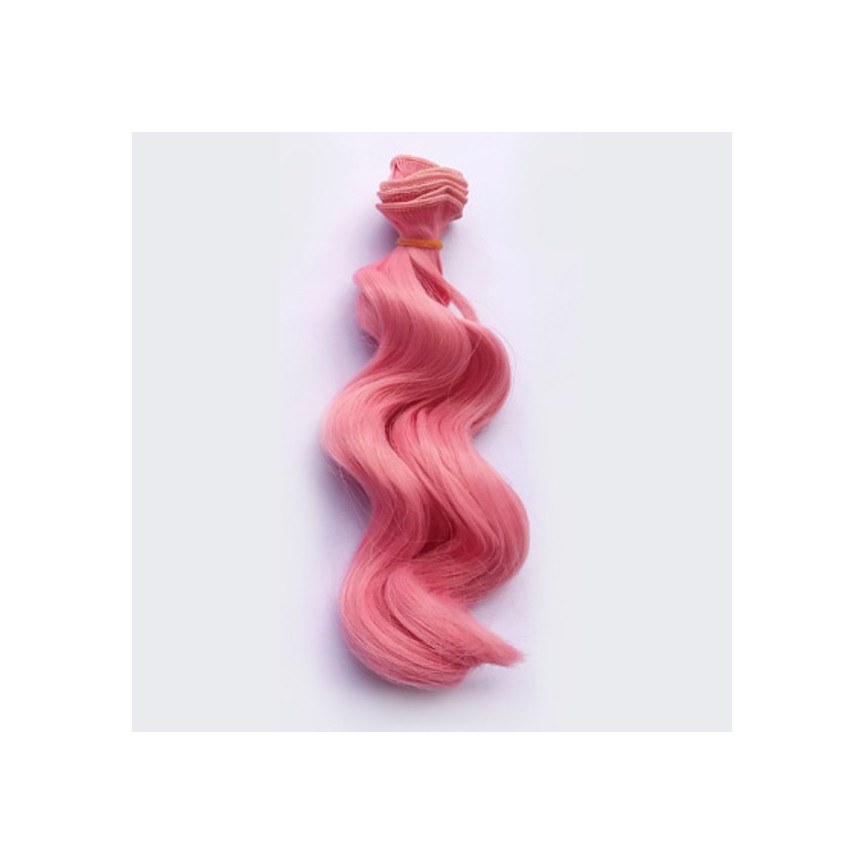 RÓŻOWY - Falowane 15cm - Włosy Do Lalek