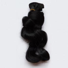 CZARNE Falowane 15cm Włosy Do Lalek
