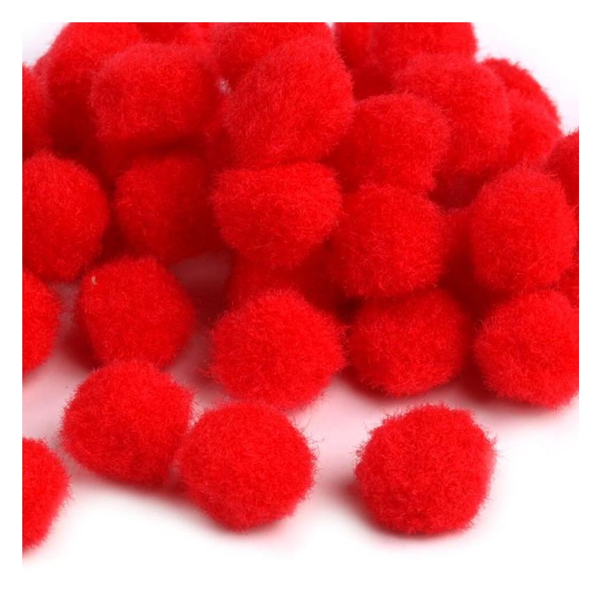 Pompony 10mm – czerwone