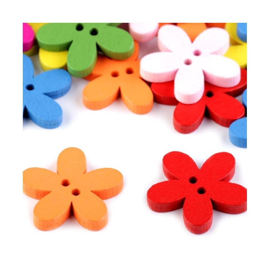 Drewniany guzik kształt kwiatka MIX kolorów-10szt