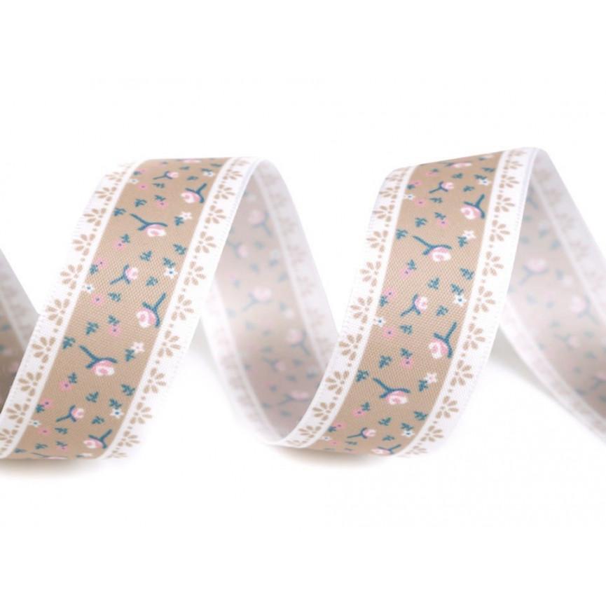Szeroka wstążka w drobne kwiaty 25mm BRĄZOWA- 5m