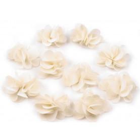 Zwiewne kwiatki 30mm BEŻOWE do przyszycia lub przyklejenia- 10szt