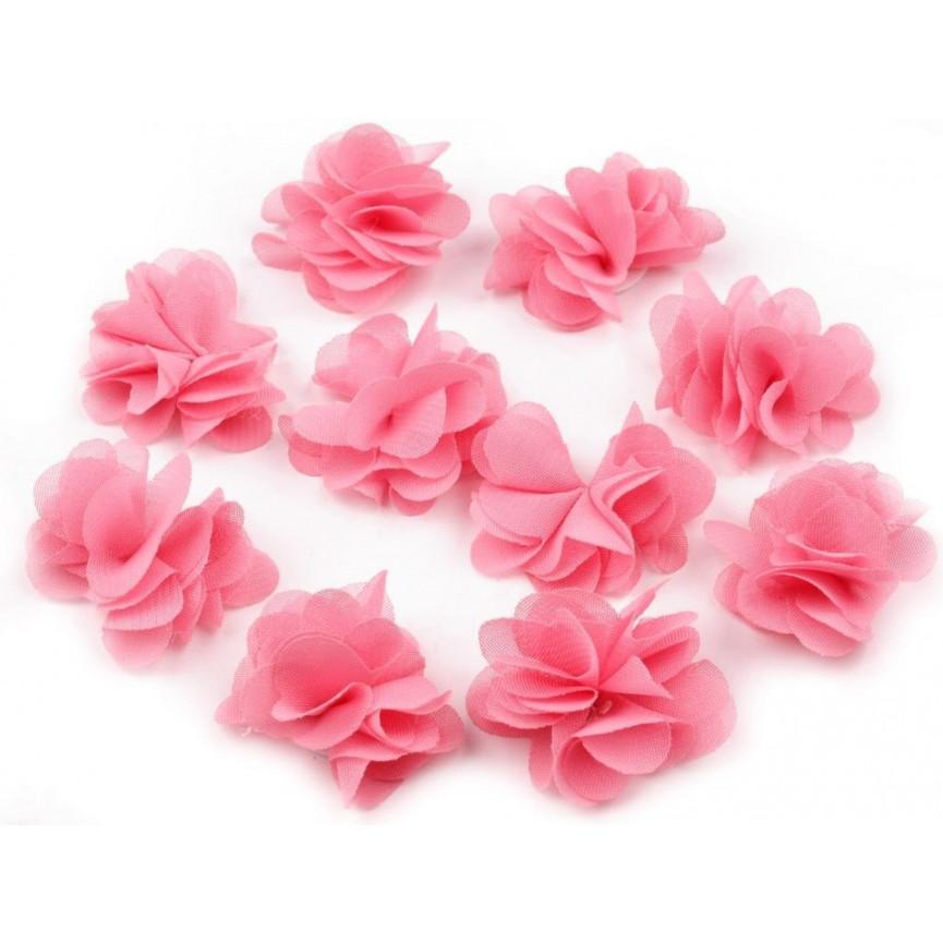 Zwiewne kwiatki 30mm KORALOWE do przyszycia lub przyklejenia- 10szt