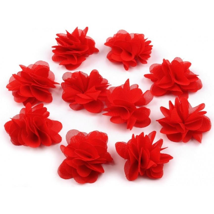 Zwiewne kwiatki 30mm CZERWONE do przyszycia lub przyklejenia- 10szt
