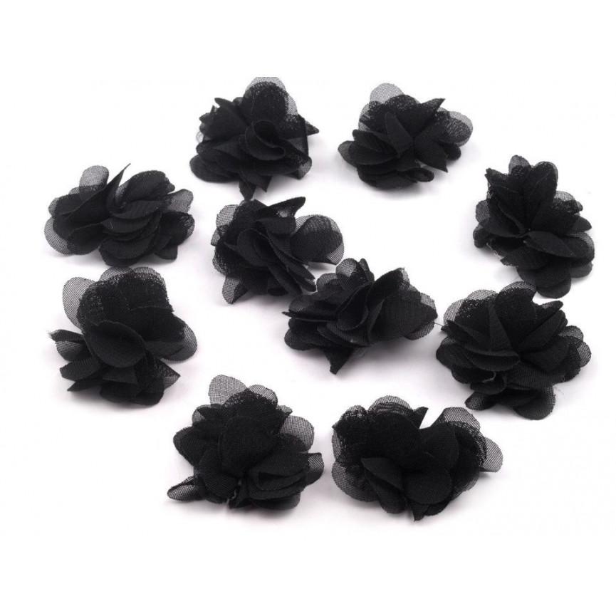 Zwiewne kwiatki 30mm CZARNE - 10szt