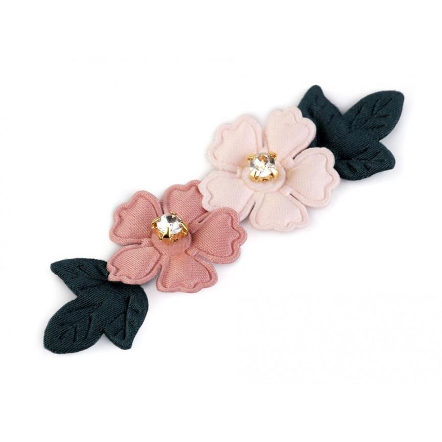 Aplikacja kwiaty z kamyczkami JASNY RÓŻ