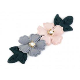 Aplikacja kwiaty z kamyczkami SZARY