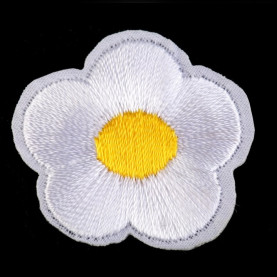 Naprasowanki wyszywany kwiat - 10szt - biały