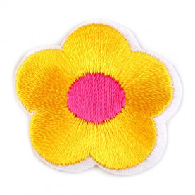 Naprasowanki wyszywany kwiat - 10szt - żółty