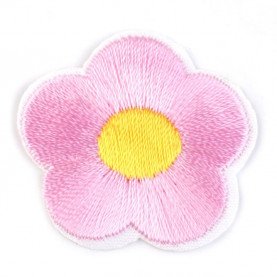 Naprasowanki wyszywany kwiat - 10szt - różowy