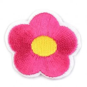 Naprasowanki wyszywany kwiat - 10szt - fuksja