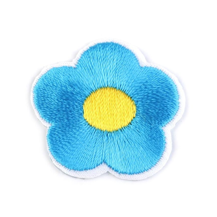 Naprasowanki wyszywany kwiat - 10szt - niebieski