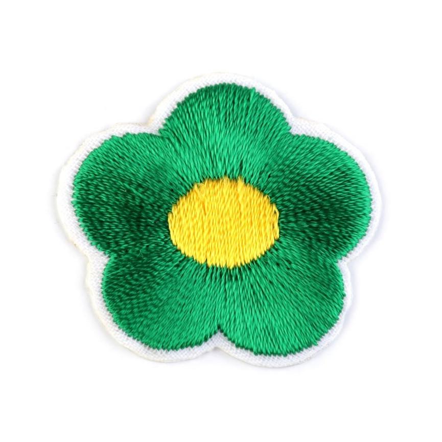Naprasowanki wyszywany kwiat - 10szt - ciemno-zielony