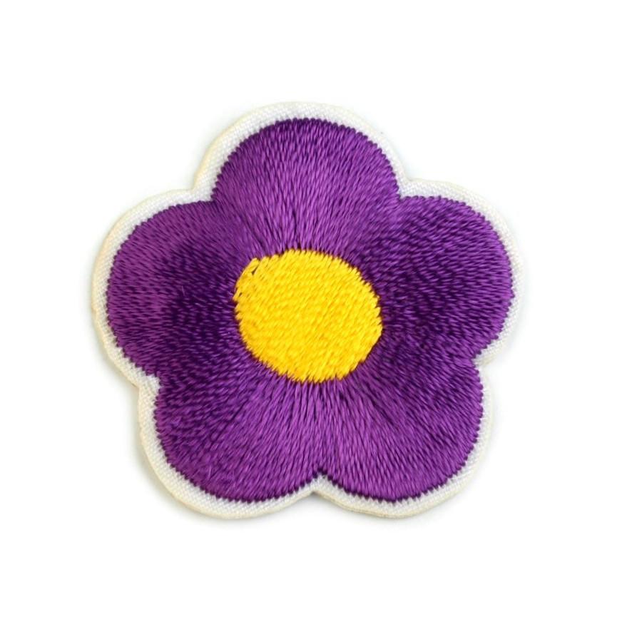 Naprasowanki wyszywany kwiat - 10szt - ciemno-fioletowy