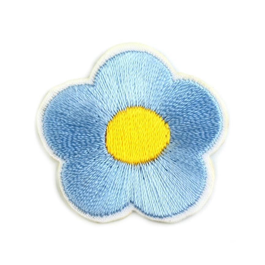 Naprasowanki wyszywany kwiat - 10szt - błękitny