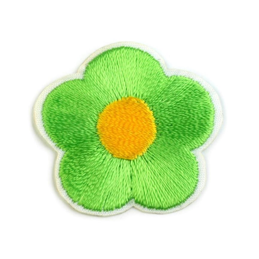 Naprasowanki wyszywany kwiat - 10szt - zielony