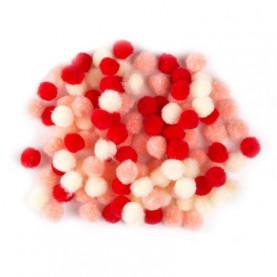 Małe pompony 10mm Czerwone mix