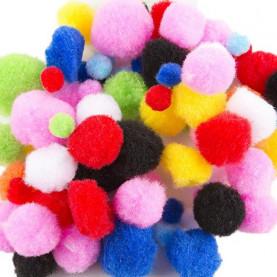 Pompony różne wielkości mix kolorów