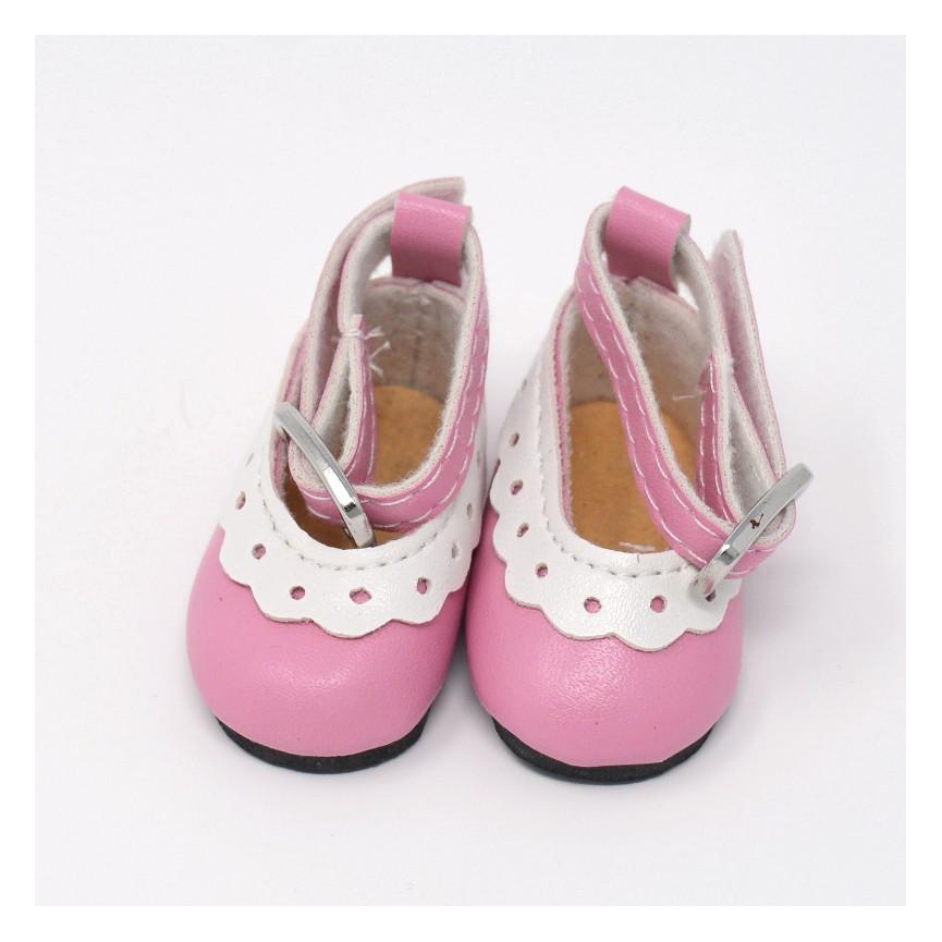 Balerinki dla lalek z klamrą-różowe