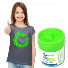 FARBA DO CIEMNYCH TKANIN - 25ML - Zielona Fluo - KRYJĄCA! - DO BAWEŁNY, PROFIL
